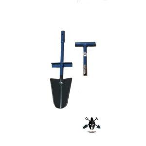 Spaten zwei teilig, 2 tlg. Spaten, zerlegbarer Spaten mit Stecksystem und T-Griff, Blatt aus gehärtetem Stahl